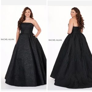Rachel Allan ~ Strapless Black Ball gown